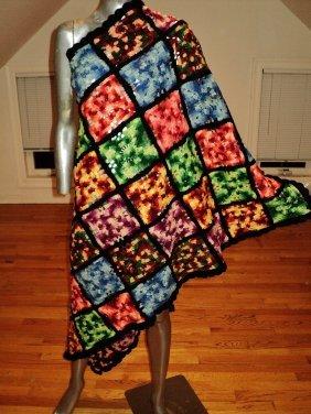 Old Afghan Blanket Handmade Crochet Granny Multi Color