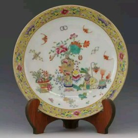 Late 19th Century Chinese Famille Rose Porcelain Plate