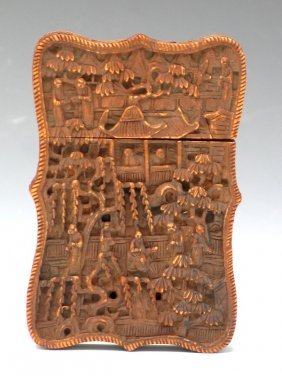 Chinese Export Carved Wood Card Box, 19th Century.