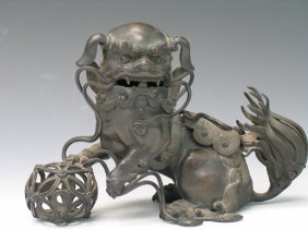 Chinese Bronze Incense Burner Of A Foo Dog.
