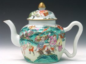 Chinese Famille Rose Porcelain Teapot, Daoguang Mark.