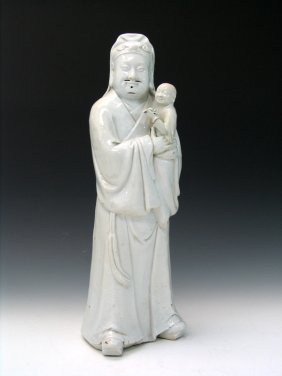 Chinese Blanc De Chine Porcelain Statue Of A Man