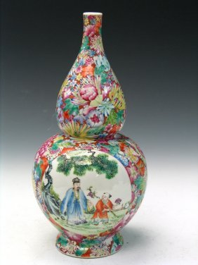 Chinese Double Gourd Famille Rose Porcelain Vase,