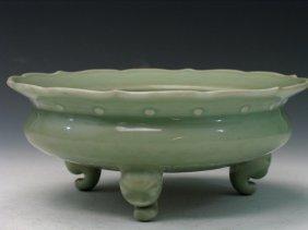 Chinese Celadon Porcelain Tripod Censor.