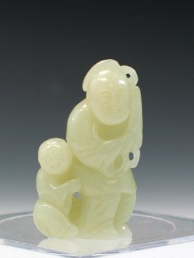 Chinese Celadon Jade Carving Of Two Boys