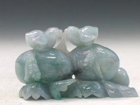 Chinese Jadeite Carving Of Two Chicken.
