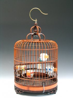 Antique Chinese Bamboo Bird Cage With Porcelain Bird
