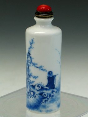 Chinese Blue And White Porcelain Snuff Bottle.