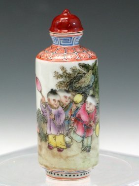Chinese Famille Rose Porcelain Snuff Bottle, Guangxu