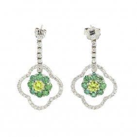 Round Cut Diamond Drop Dangle Flower Shape Earrring