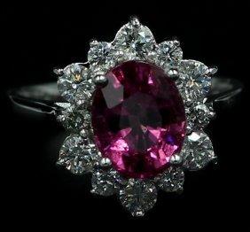 3.70 Ct. Oval Cut Pink Tourmaline Halo Diamond Ring