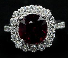 5.30 Ct. Cushion Cut Rhodolite Anniversary Diamond Ring