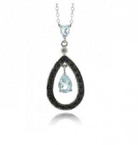 Blue Topaz & Black Diamond Dangling Teardrop Necklace