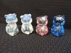"Fenton Signed Hand Painted Glass 3 3/4"" Bears Group Of"