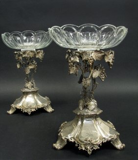 Silver Pleated Christofle Style Tazza/centerpice