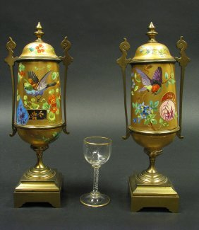Pair Of Sevres Paris Porcelain Ormolu Mounted Vases