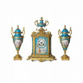 19th C. French Sevres Turquoise Clock Set