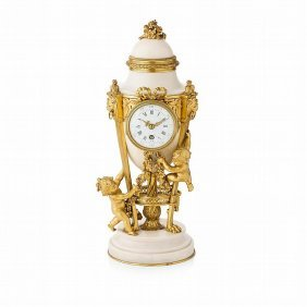 19th C. Carrara Marble And Bronze Clock