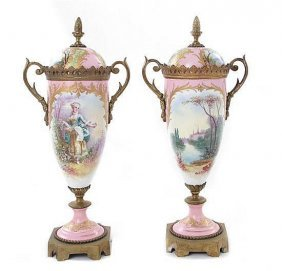 Pair French Bronze Porcelain Sevres Pink Urns 19th C.