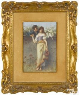Painted Porcelain Plaque Of Two Young Lovers, Late 19th