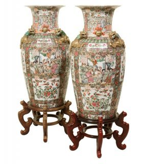 A Pair Of Very Large Chinese Porcelain Vases