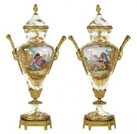 Pair 19th C. Sevres Style Urns