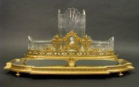 19th C. Baccarat Bronze & Crystal Centerpiece & Plateau