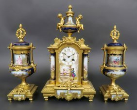 19th C. French Sevres Figural Clock Set