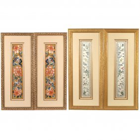 (4pc) CHINESE SILK EMBROIDERED RIBBONS