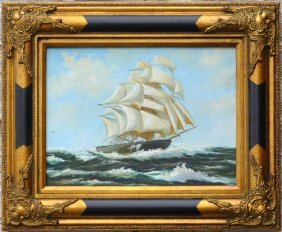 Maritime Clipper Ship Oil Painting