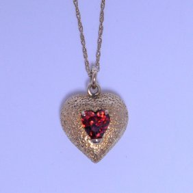 14 Kt Thick Gold Puffed Heart Necklace