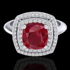 2.52 CTW Ruby & Micro VS/SI Diamond Certified Pave Halo