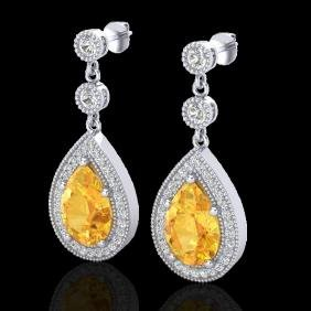 4.50 CTW Citrine & Micro VS/SI Diamond Certified