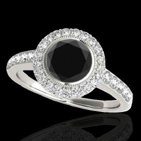 1.5 CTW Certified Vs Black Diamond Bridal Solitaire