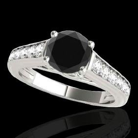 1.5 CTW Certified VS Black Diamond Solitaire Ring Gold