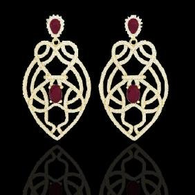 7 CTW Ruby & Micro VS/SI Diamond Heart Earring Designer
