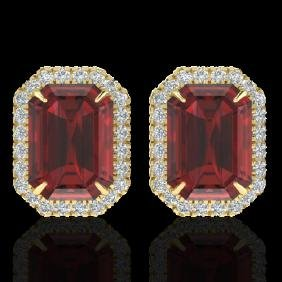 12 CTW Garnet And Micro Pave VS/SI Diamond Certified