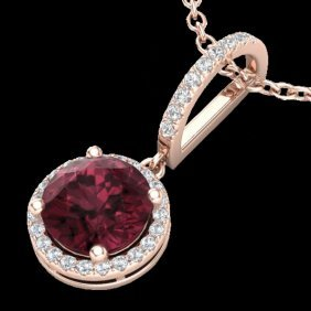 Natural 2.75 Ctw Garnet & Micro Pave Diamond Necklace