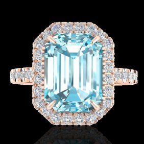 Genuine 63 Ctw Sky Blue Topaz & Micro Pave Diamond