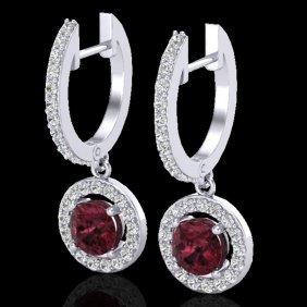 Natural 1.75 Ctw Garnet & Micro Halo Solitaire Diamond