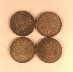 Four Mexican Eagle Silver Coins With Chinese Chops
