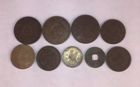 Nine Chinese Copper Coins Qing Dynasty And Republic