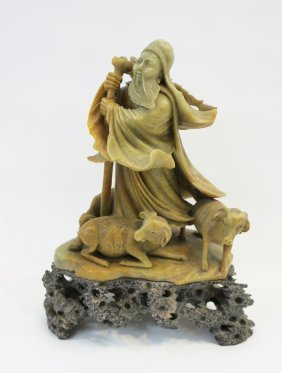 Soapstone Carved A Sage And Goat