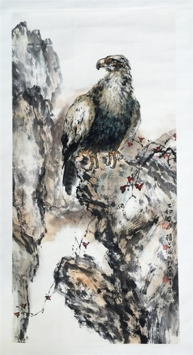 Chinese Scroll Painting Of Eagle Standing On Rock
