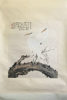 Chinese Scroll Painting Of Two Cranes