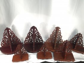 Seven Chinese Rosewood Wall Hanged Standers