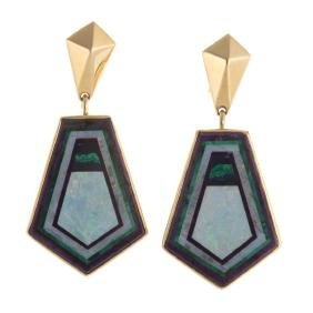A Pair Of Inlayed Opal Earrings By James Kaufmann