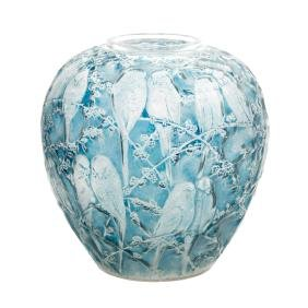 Lalique crystal Perruches vase