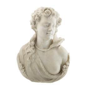 G. Andreoni marble bust of a beauty