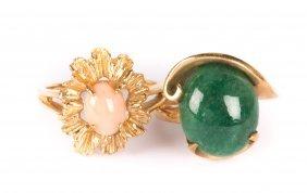 An Angel Skin Coral Ring & Aventurine Ring
